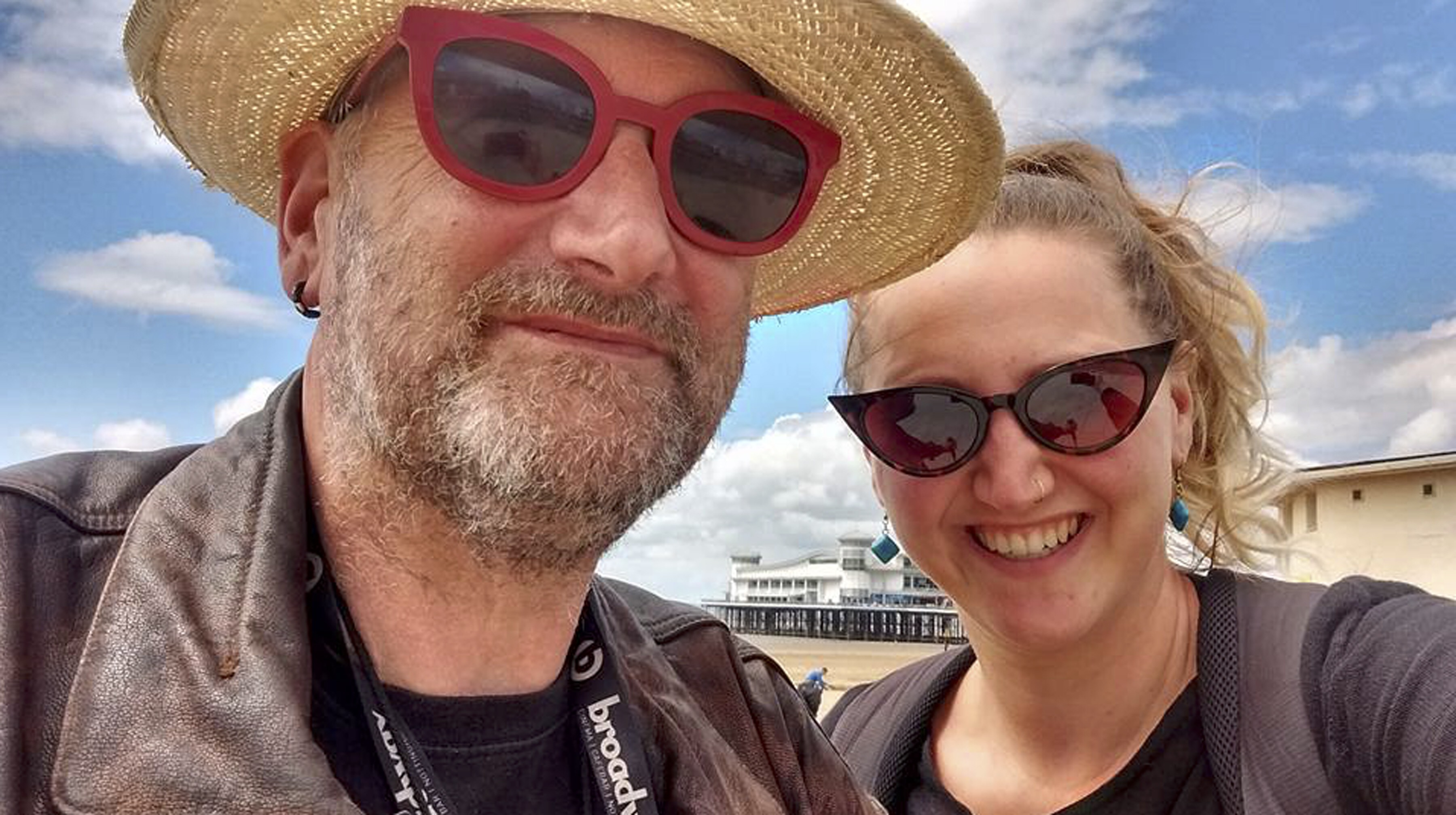 Tony with his daughter Amy on the beach