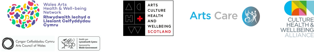 logos for the four UK organisations: CHWA, WAHWN, ACHWS, and Arts Care