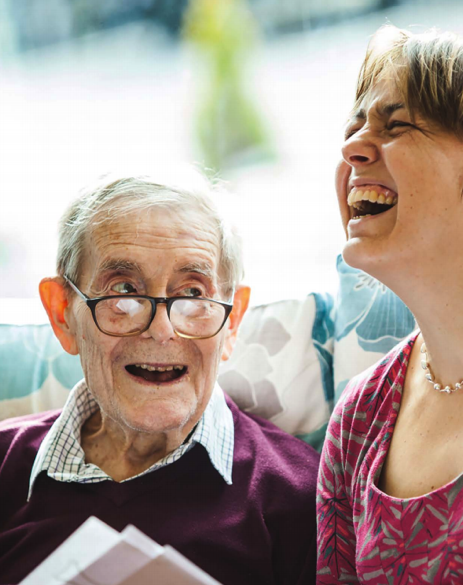 A photograph of two people as part of a Singing in Care Homes project by Live Music Now and Creative Inspiration Shropshire Community Interest Company