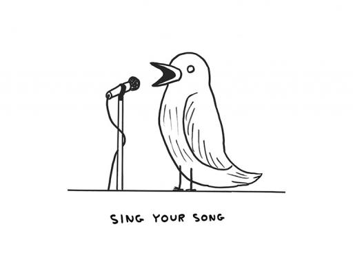 Image by David Shrigley of a bird singing into a microphone