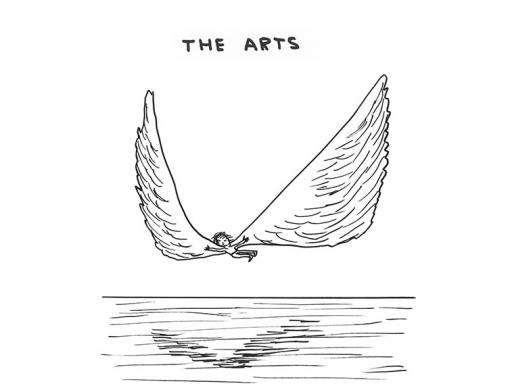 "David Shrigley drawing titled The Arts, with a figure flying over water ""The arts give you wings"""