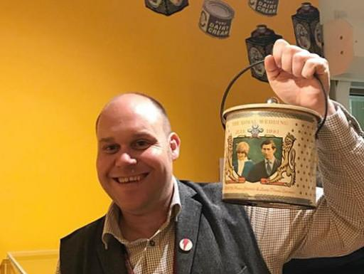 Steven Skelley holding a tin from the Barnsley Canister Company