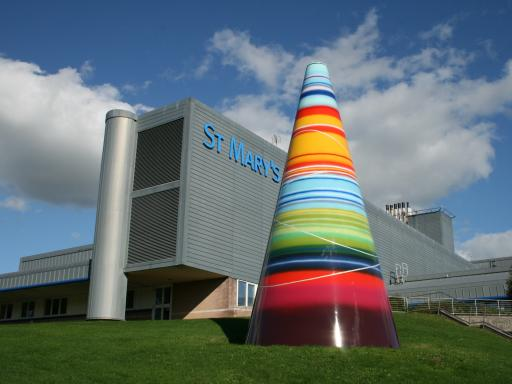Brightly coloured sculpture - Land Sea Light Koan by Liliane Lijn
