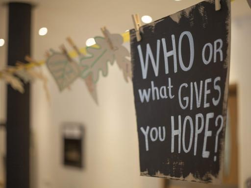 paper pinned to a wall with 'who or what gives you hope?' written on it