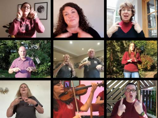 Sing Viva carers choir members perform remotely with Sinfonia Viva