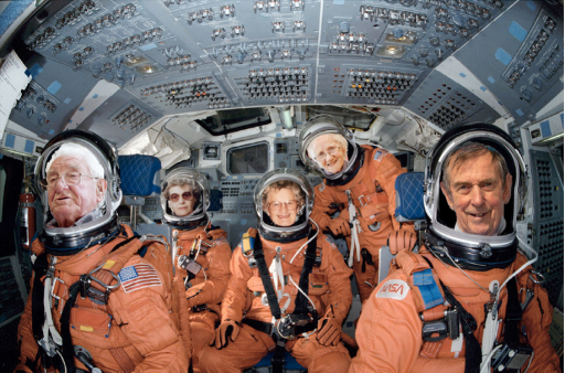 a digital collage featuring five older people's faces superimposed onto images of astronauts inside a spaceship